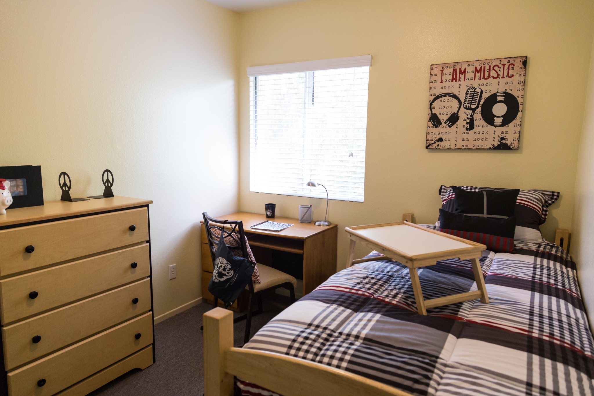 Interior view from the entry to a bedroom. There is a single bed along the right wall, desk under the mini-blink covered window and a dresser along the wall on the left.
