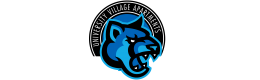 The logo for University Village apartments in a stylized blue cougar on a black bacground encircled by white text for the property.
