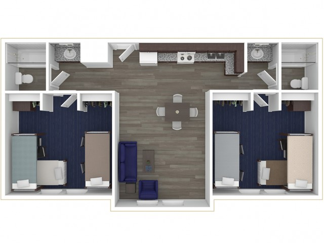 Two spacious shared bedrooms in the apartment comfortably fit a twin extra-long bed, a desk, chair and dresser per person for a total of six people in the apartment.