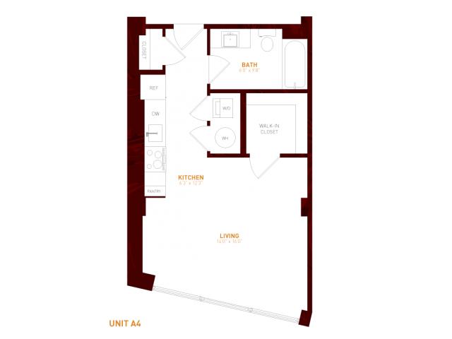View Brookland Press's Foundry 216 Studio Apartment Floor Plan in DC