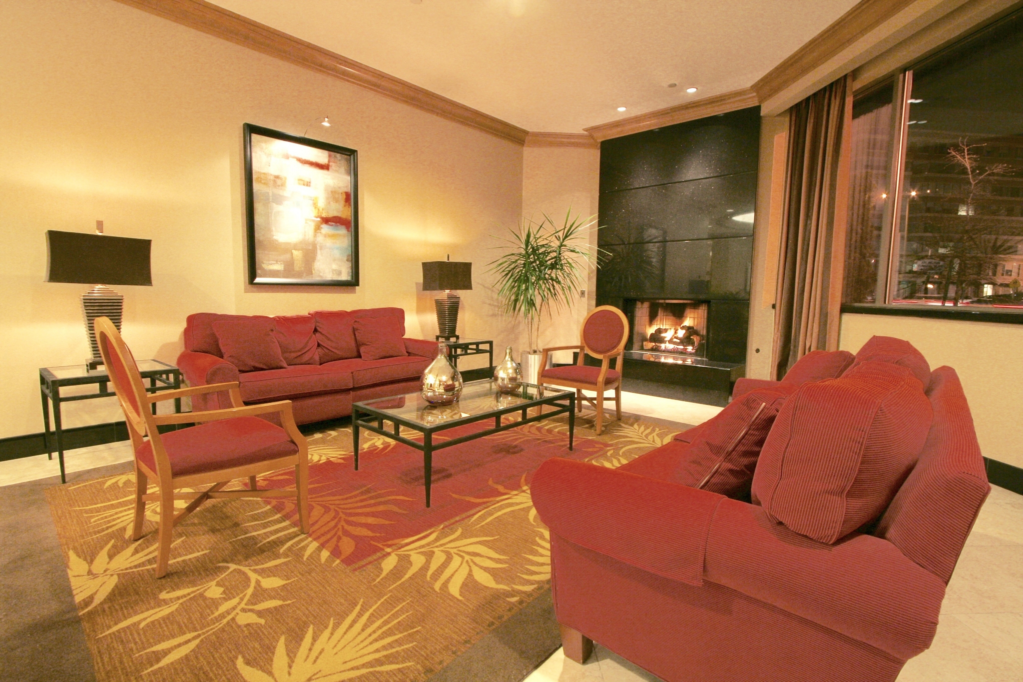 Residential Lounge with Fireplace | Quincy Plaza