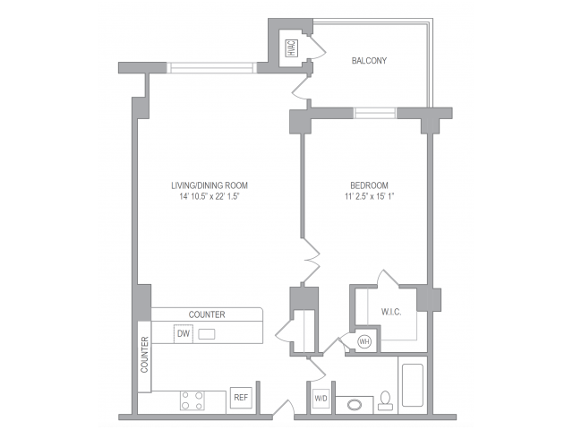 1 Bedroom Floor Plan | Apartments In Arlington VA | Courtland Towers