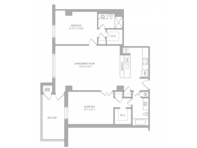 2 Bedroom Floor Plan | Arlington VA Apartments | Courtland Towers