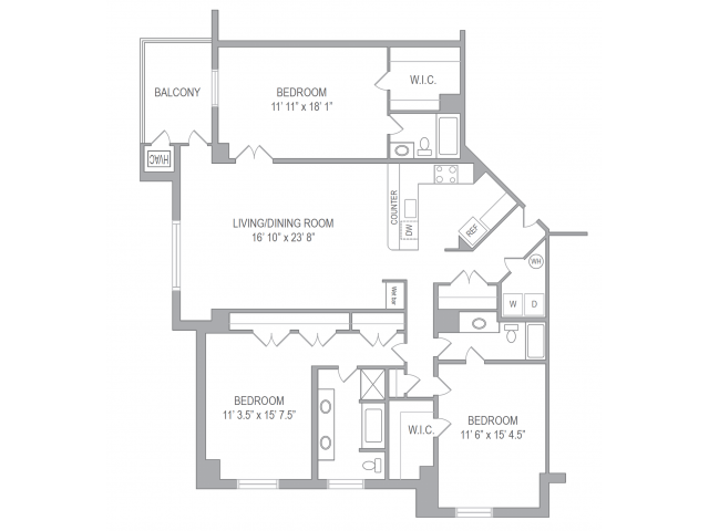 3 Bedroom Floor Plan | Apartments In Arlington | Courtland Towers