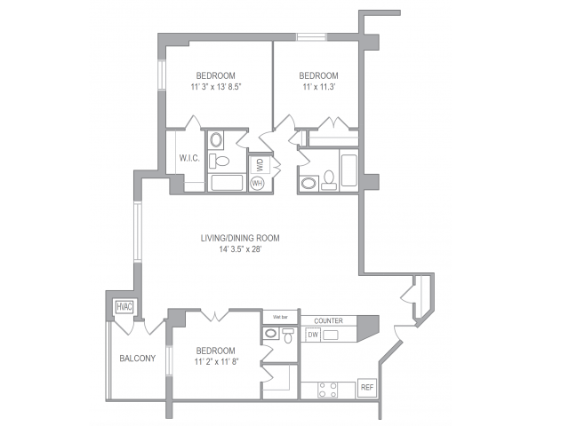 3 Bdrm Floor Plan | Apartments In Arlington VA | Courtland Towers
