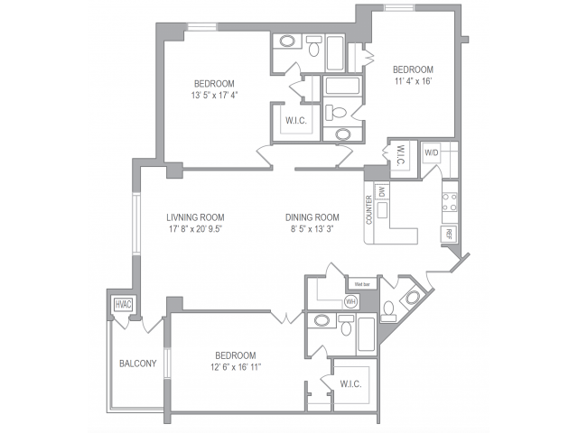 Floor Plan 3 | Apartments In Arlington VA | Courtland Towers