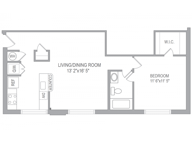 1 bedroom floor plan with no balcony