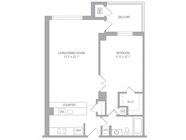 1 Bedroom Floor Plan   Apartments In Arlington VA   Courtland Towers
