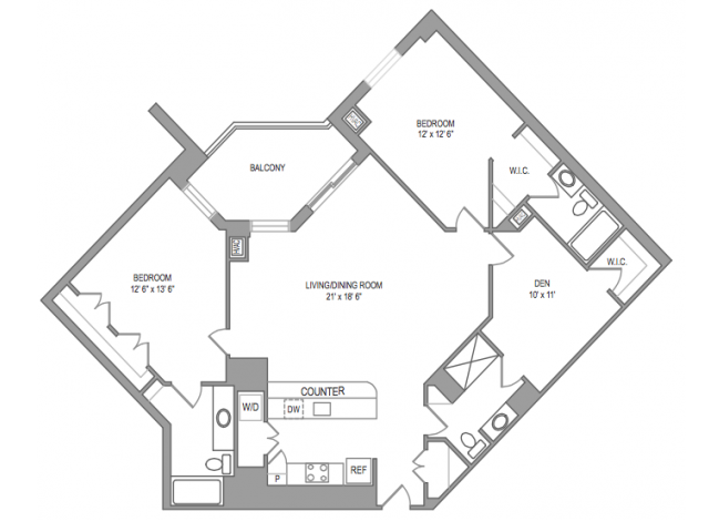 2x2 Den Floor Plan