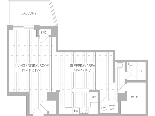 studio furnished floor plan