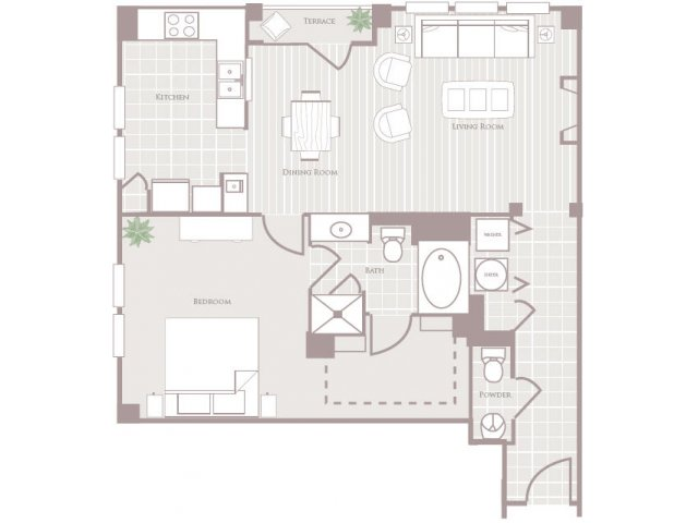 One bedroom one and a half bathroom A4 Floorplan at Rienzi at Turtle Creek Apartments in Dallas, TX
