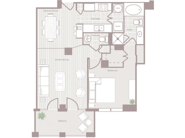 One bedroom one and a half bathroom A3 Floorplan at Rienzi at Turtle Creek Apartments in Dallas, TX
