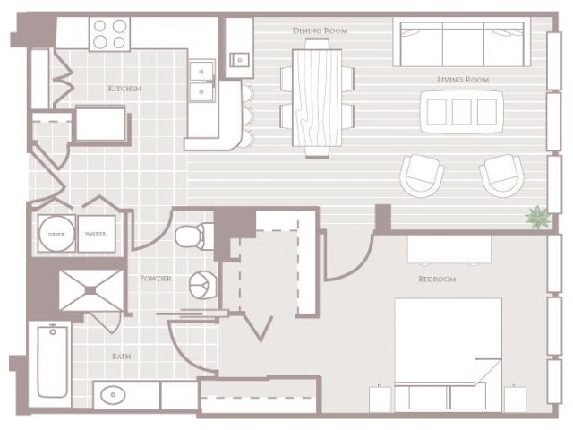 One bedroom one bathroom A1 Floorplan at Rienzi at Turtle Creek Apartments in Dallas, TX