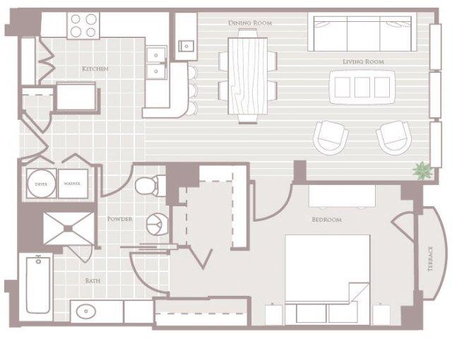 One bedroom one bathroom A2 Floorplan at Rienzi at Turtle Creek Apartments in Dallas, TX