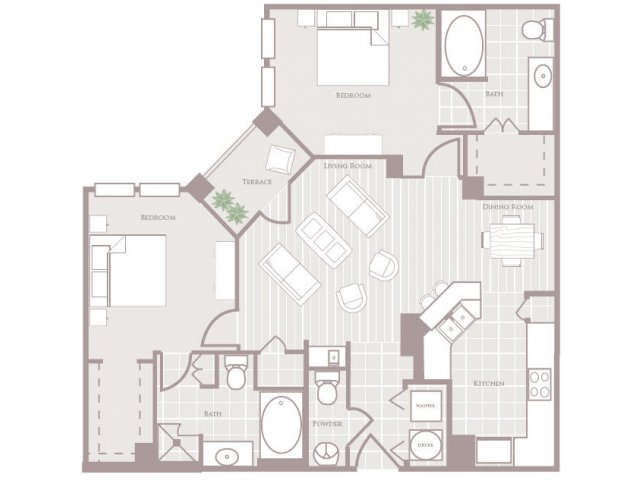 Two bedroom two and a half bathroom B3 Floorplan at Rienzi at Turtle Creek Apartments in Dallas, TX