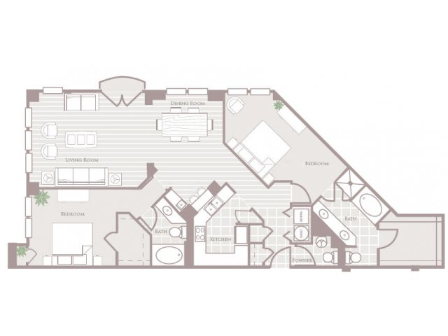 Two bedroom two and a half bathroom B6 Floorplan at Rienzi at Turtle Creek Apartments in Dallas, TX