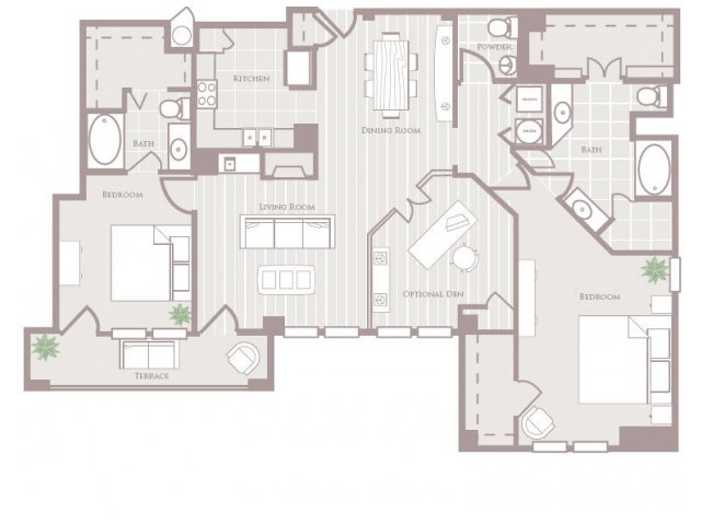 Two bedroom two and a half bathroom B9 Floorplan at Rienzi at Turtle Creek Apartments in Dallas, TX