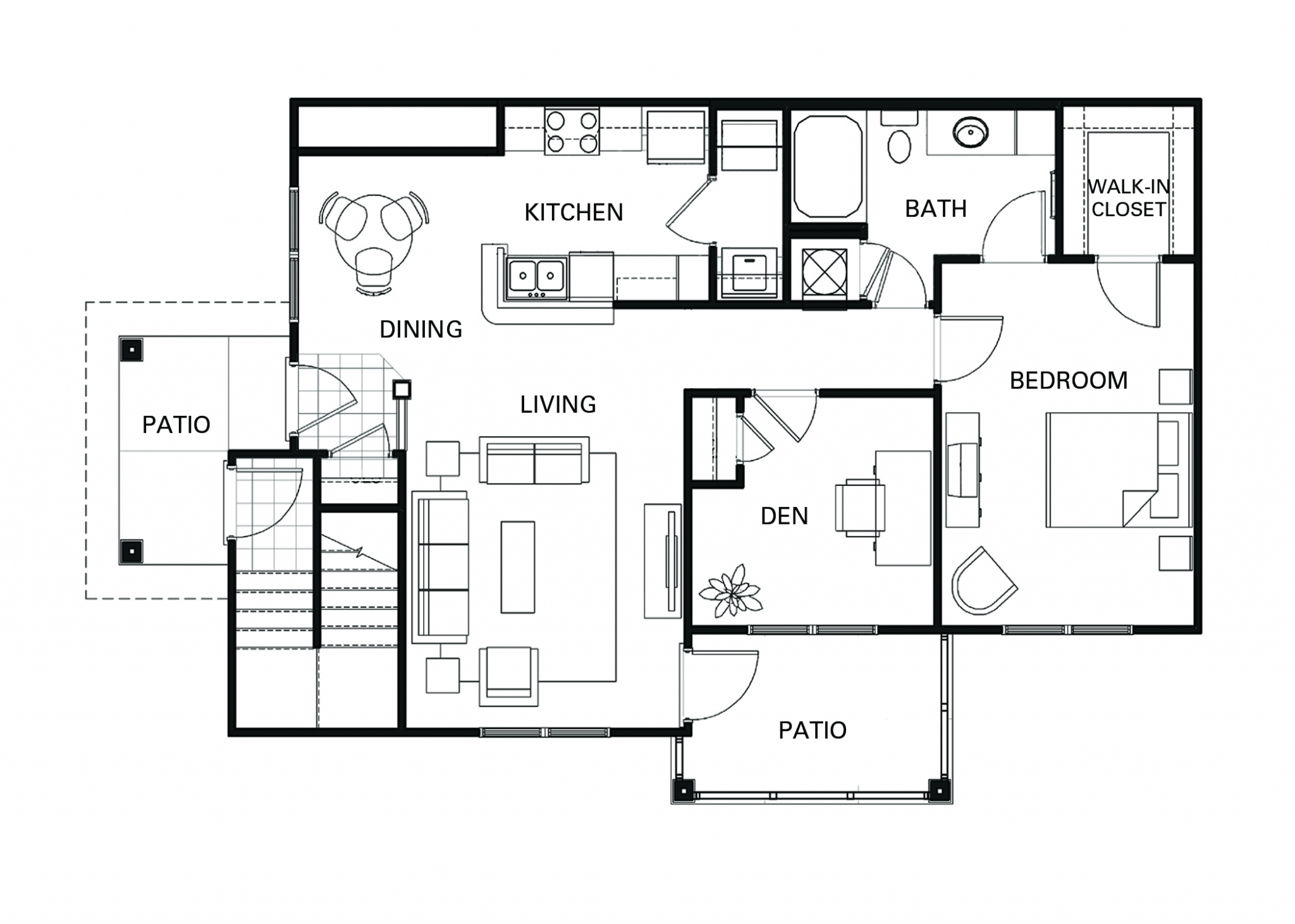 One bedroom one bathroom A2D floorplan at The Apartments at Blakeney in Charlotte, NC