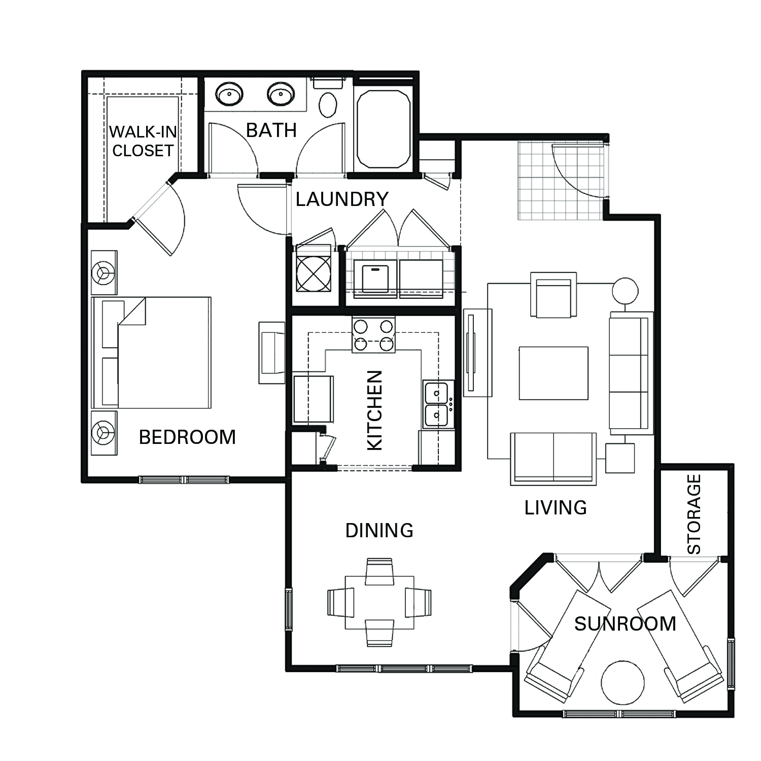 One bedroom one bathroom A4 floorplan at The Apartments at Blakeney in Charlotte, NC