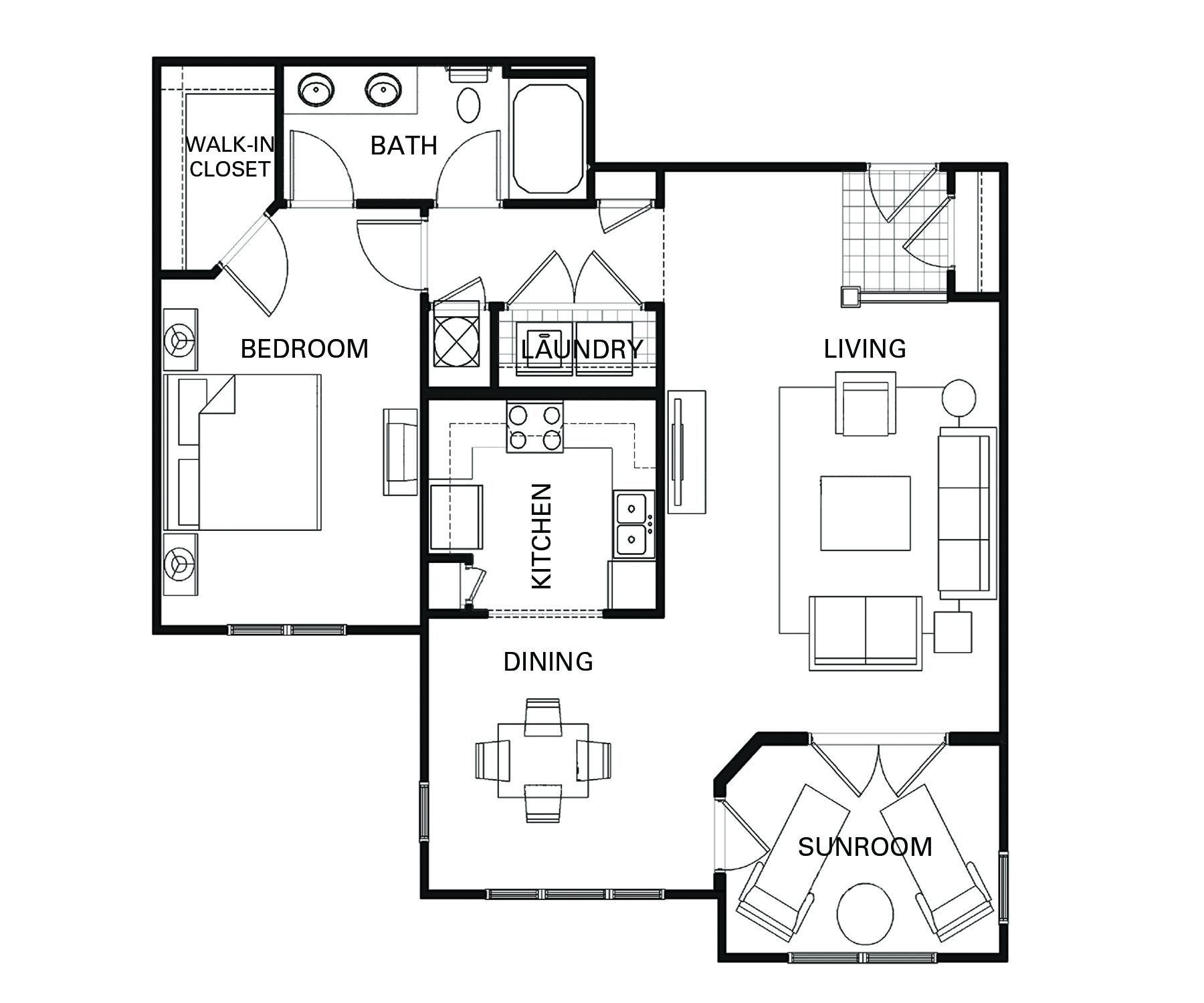 One bedroom one bathroom A5 floorplan at The Apartments at Blakeney in Charlotte, NC