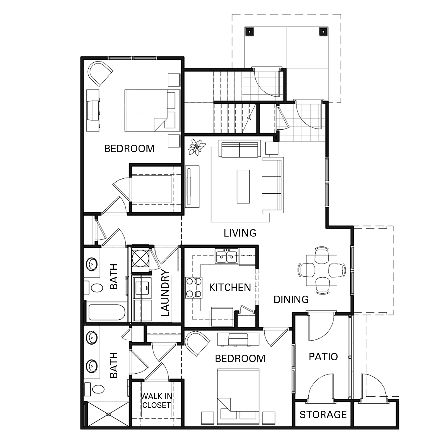 Two bedroom two bathroom B1 floorplan at The Apartments at Blakeney in Charlotte, NC