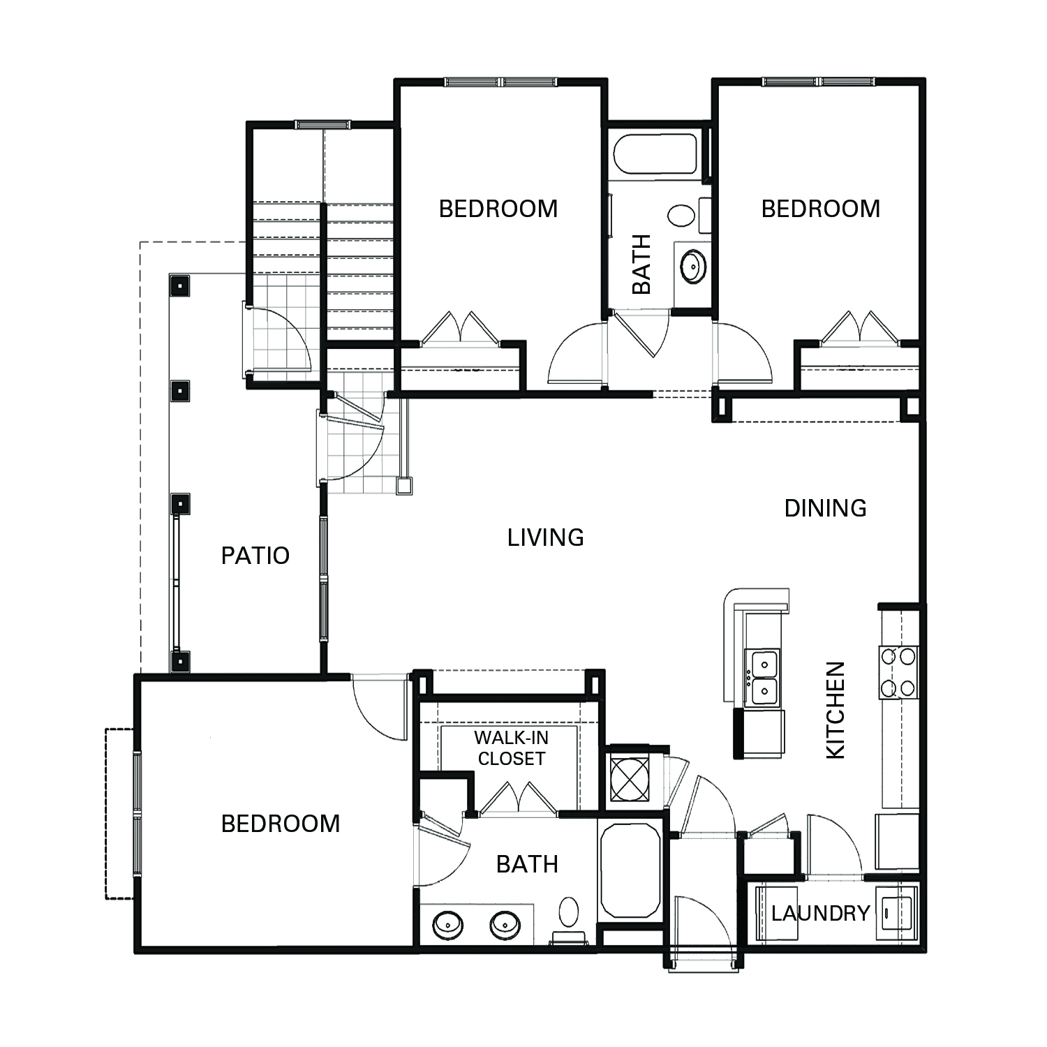 Three bedroom two bathroom C1 floorplan at The Apartments at Blakeney in Charlotte, NC