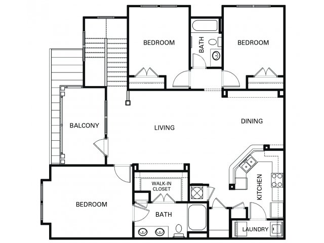 Three bedroom two bathroom C2 floorplan at The Apartments at Blakeney in Charlotte, NC