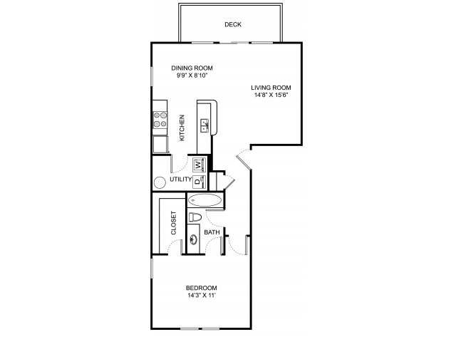 One bedroom one bathroom A1 floorplan at The Residence at Barrington Apartments in Aurora, OH
