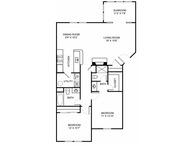 Two bedroom two bathroom B2 floorplan at The Residence at Barrington Apartments in Aurora, OH
