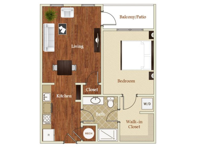 One bedroom one bathroom A6 floorplan at St. Mary\'s Square Apartments in Raleigh, NC