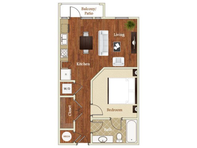 One bedroom one bathroom A7 floorplan at St. Mary\'s Square Apartments in Raleigh, NC