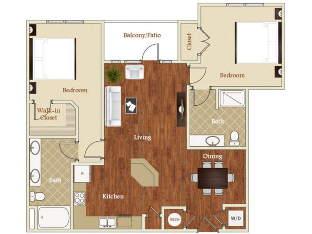 Two bedroom two bathroom B4 floorplan at St. Mary\'s Square Apartments in Raleigh, NC