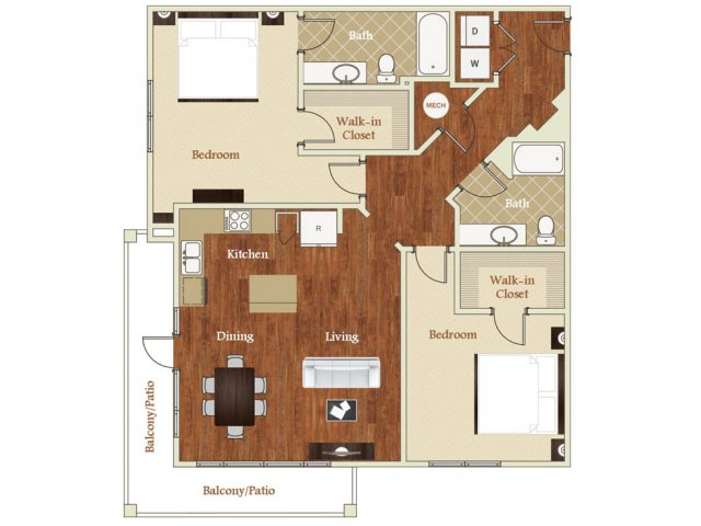 Two bedroom two bathroom B8 floorplan at St. Mary\'s Square Apartments in Raleigh, NC