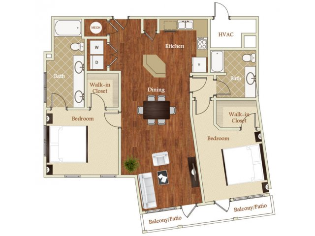 Two bedroom two bathroom B7 floorplan at St. Mary\'s Square Apartments in Raleigh, NC