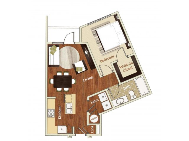One bedroom one bathroom A4 Floorplan at Lofts at Weston Lakeside Apartments in Cary, NC