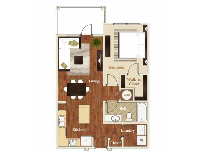 One bedroom one bathroom A2 Floorplan at Lofts at Weston Lakeside Apartments in Cary, NC