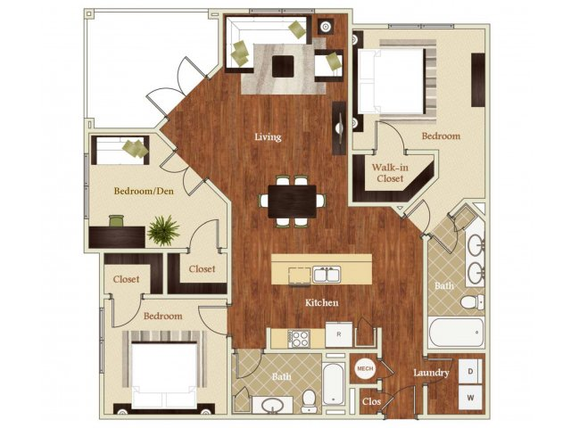 Three bedroom two bathroom C1 Floorplan at Lofts at Weston Lakeside Apartments in Cary, NC