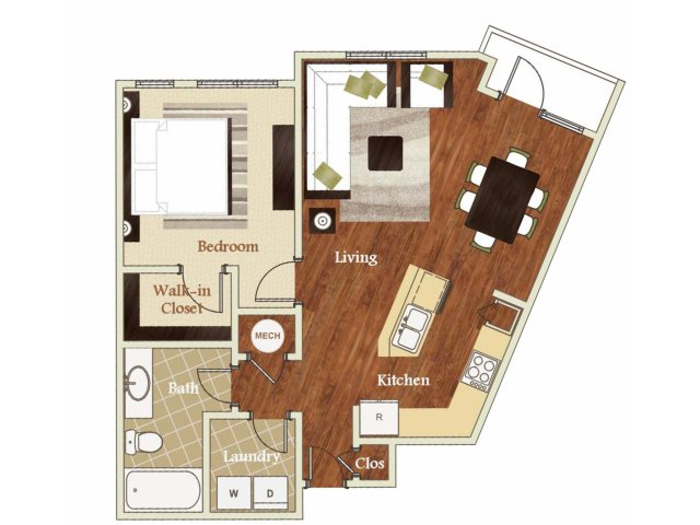 One bedroom one bathroom A1 Floorplan at Lofts at Weston Lakeside Apartments in Cary, NC