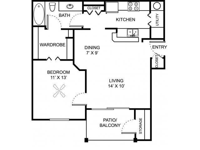 One bedroom one bathroom A1 floor plan at Center Point Apartment Homes in Indianapolis, IN