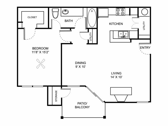 One bedroom one bathroom A2 floor plan at Center Point Apartment Homes in Indianapolis, IN