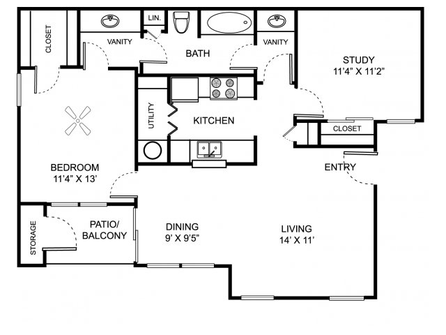 Two bedroom one bathroom B1 floor plan at Center Point Apartment Homes in Indianapolis, IN