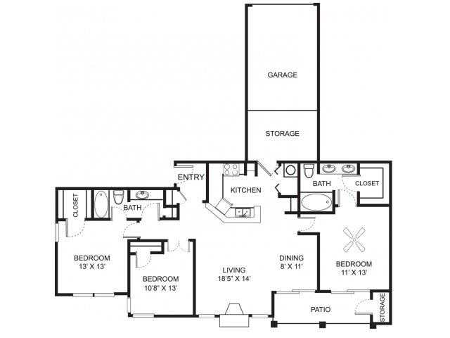 Three bedroom two bathroom C1 floor plan at Center Point Apartment Homes in Indianapolis, IN