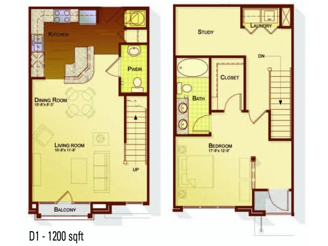 One bedroom one and a half bathroom A5DTH floorplan at Apartments at the Arboretum in Cary, NC