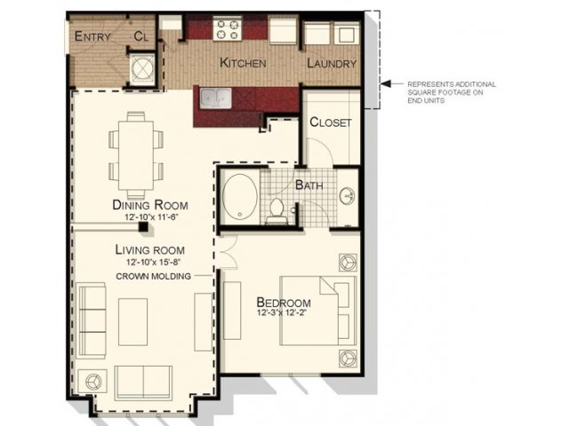 One bedroom one bathroom floorplan at Southpoint Village Apartments in Durham, NC