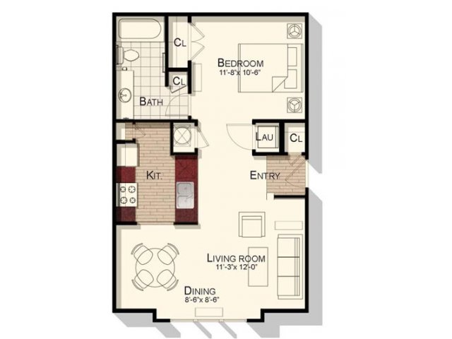 Studio one bathroom 650 sqft floorplan at Southpoint Village Apartments in Durham, NC