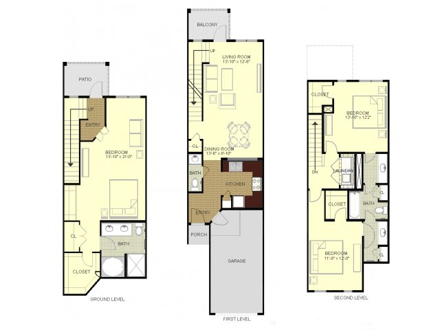 Three bedroom two and a half bathroom townhome floorplan at Southpoint Village Apartments in Durham, NC