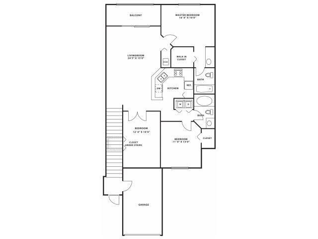 Three bedroom two bathroom C2 Floorplan at Doral West Apartment Homes in Doral, FL