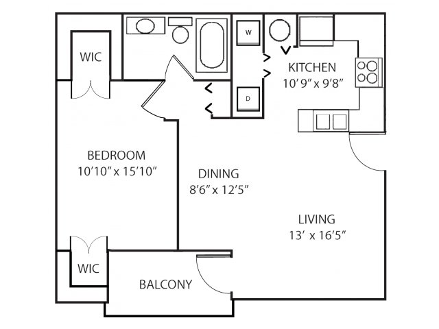 One bedroom one bathroom A1 floorplan at Waterstone at Wellington Apartments in Wellington, FL