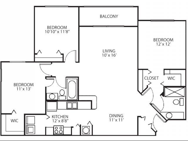 Three bedroom two bathroom C2 floorplan at Waterstone at Wellington Apartments in Wellington, FL