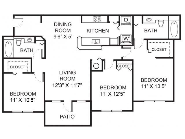 Three bedroom two bathroom C1 floorplan at Vista Lago Apartments in West Palm Beach, FL